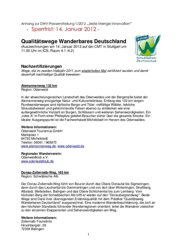 "Anhang zur DWV-Pressemitteilung 1/2012 ""Jede Menge Innovation""   - Sperrfrist: 14. Januar 2012 -Qualitätswege Wanderbares ..."