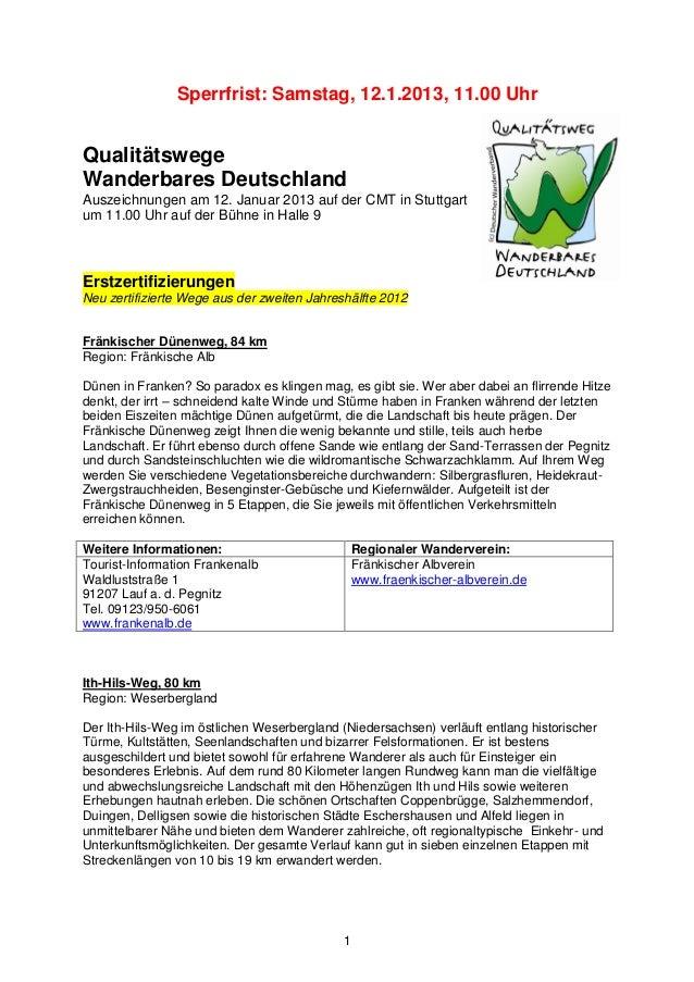 Sperrfrist: Samstag, 12.1.2013, 11.00 UhrQualitätswegeWanderbares DeutschlandAuszeichnungen am 12. Januar 2013 auf der CMT...