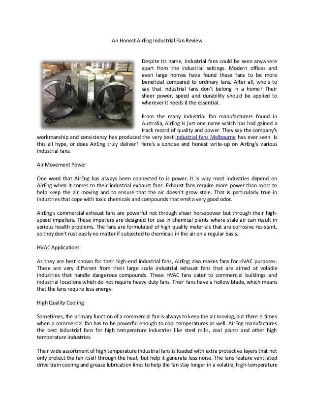 Industrial Blower Name : An honest air eng industrial fan review