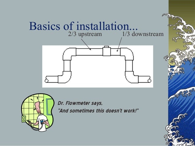 """Basics of installation... 2/3 upstream 1/3 downstream Dr. Flowmeter says, """"And sometimes this doesn't work!"""""""