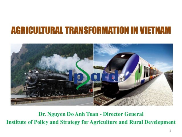 1 AGRICULTURAL TRANSFORMATION IN VIETNAM Dr. Nguyen Do Anh Tuan - Director General Institute of Policy and Strategy for Ag...