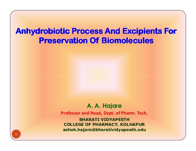Anhydrobiotic Process And Excipients ForAnhydrobiotic Process And Excipients ForAnhydrobiotic Process And Excipients ForAn...