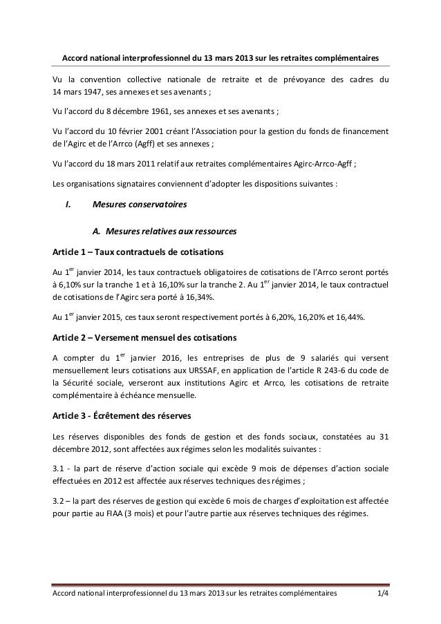 Accordnationalinterprofessionneldu13mars2013surlesretraitescomplémentairesVu la convention collective natio...