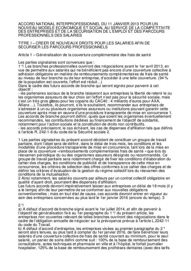 ACCORD NATIONAL INTERPROFESSIONNEL DU 11 JANVIER 2013 POUR UNNOUVEAU MODELE ECONOMIQUE ET SOCIAL AU SERVICE DE LA COMPETIT...