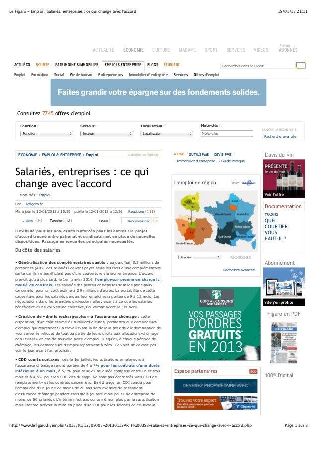 Le Figaro - Emploi : Salariés, entreprises : ce qui change avec l'accord 15/01/13 21:11  Édition  ACTUALITÉ ÉCONOMIE CULTU...