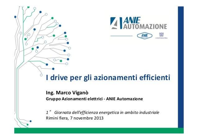I drive per gli azionamenti efficienti Ing. Marco Viganò Gruppo Azionamenti elettrici - ANIE Automazione 1° Giornata dell'...