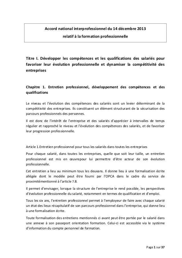 Accord national interprofessionnel du 14 décembre 2013 relatif à la formation professionnelle  Titre I. Développer les com...