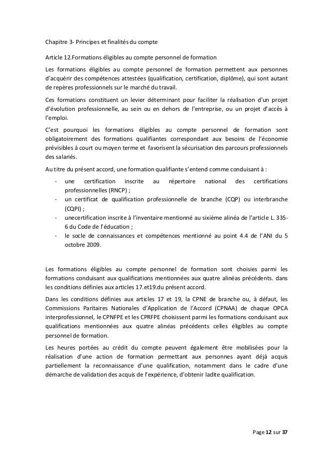 Chapitre 3- Principes et finalités du compte Article 12.Formations éligibles au compte personnel de formation Les formatio...
