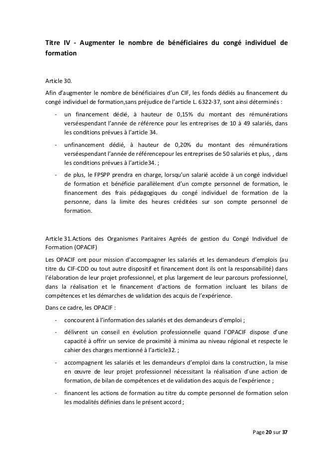 Titre IV - Augmenter le nombre de bénéficiaires du congé individuel de formation  Article 30. Afin d'augmenter le nombre d...