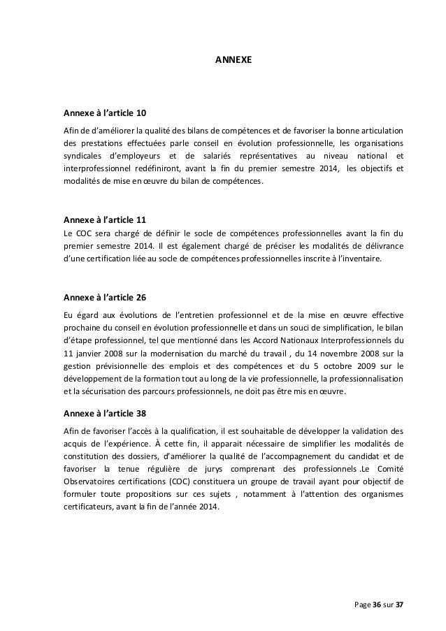 ANNEXE  Annexe à l'article 10 Afin de d'améliorer la qualité des bilans de compétences et de favoriser la bonne articulati...