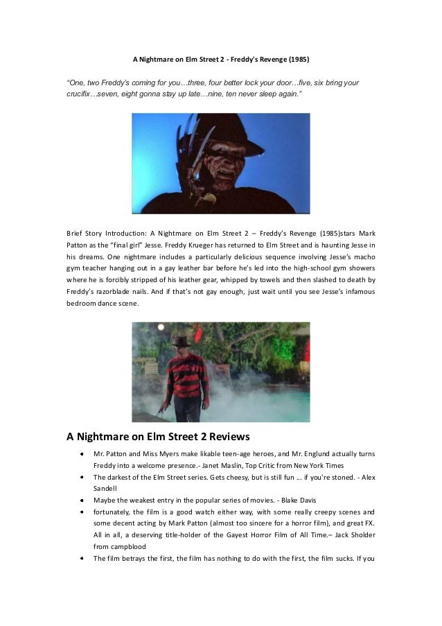 """A Nightmare on Elm Street 2 - Freddy's Revenge (1985) """"One, two Freddy's coming for you…three, four better lock your door…..."""