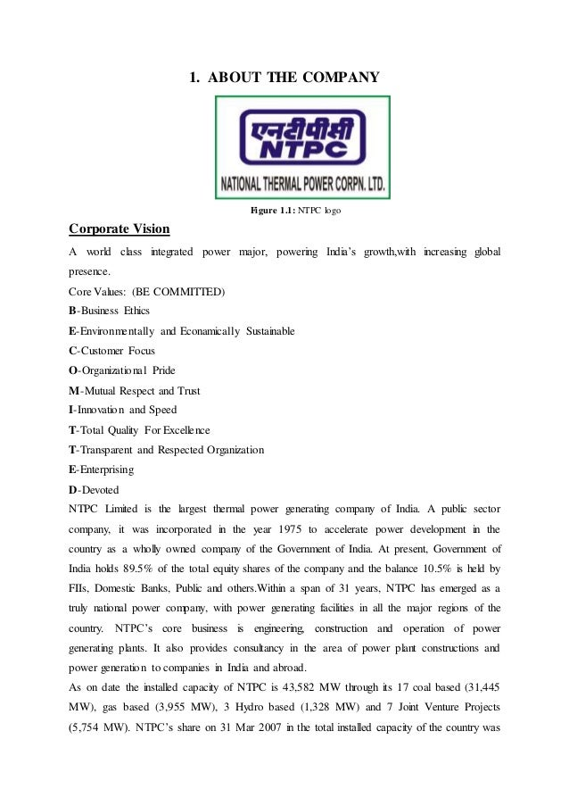 Ntpc Faridabad Training Report