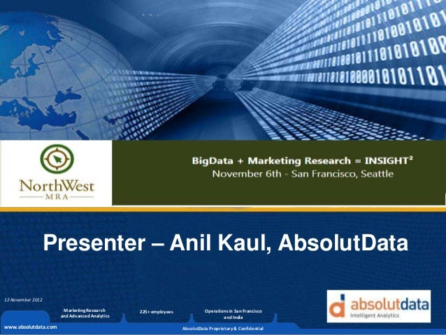 Presenter – Anil Kaul, AbsolutData12 November 2012                       Marketing Research      225+ employees           ...