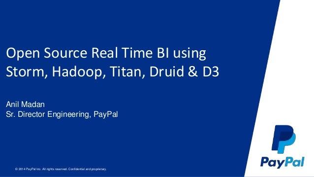 Open Source Real Time BI using  Storm, Hadoop, Titan, Druid & D3  Anil Madan  Sr. Director Engineering, PayPal  © 2014 Pay...