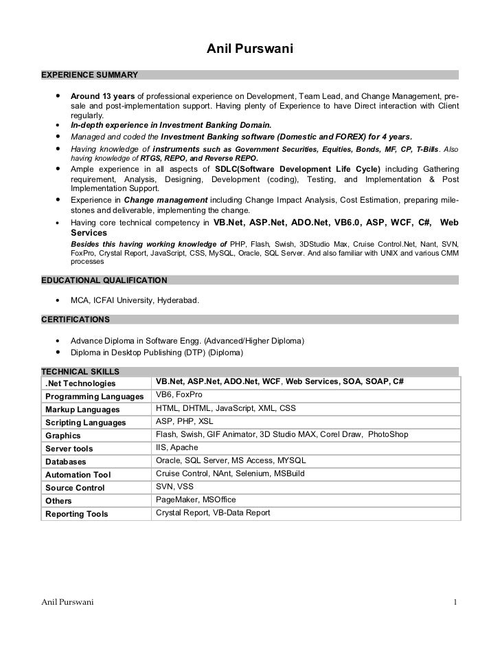 anil purswaniexperience summary around 13 years of professional experience on development team lead - Sales Force Resume