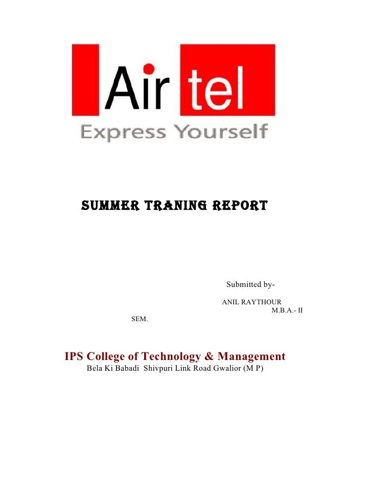 SUMMER TRANING REPORT                                             Submitted by-                                        ANI...