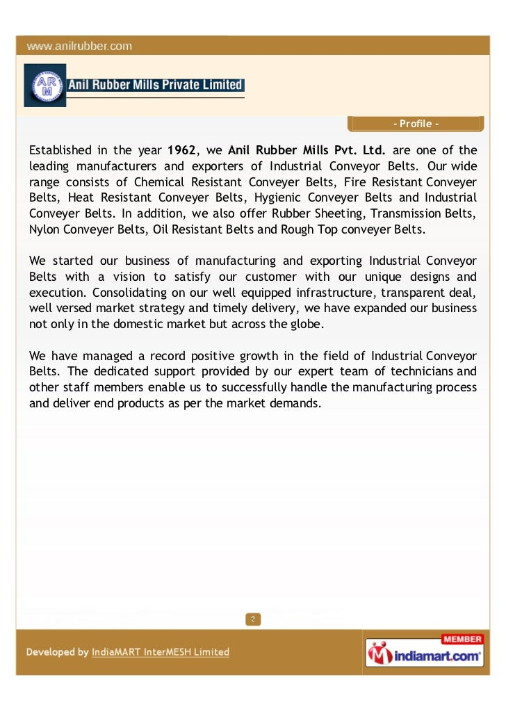 Anil Rubber Mill Pvt Ltd, Faridabad, Industrial Products Slide 2