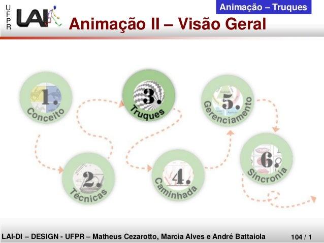 U  F  P  R  LAI-DI –DESIGN -UFPR –MatheusCezarotto, Marcia Alves e André Battaiola  104 / 1  Animação –Truques  Animação I...