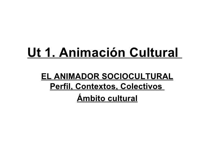 Ut 1. Animación Cultural  EL ANIMADOR SOCIOCULTURAL    Perfil, Contextos, Colectivos            Ámbito cultural