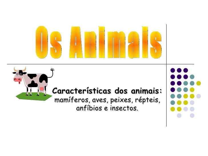 Características dos animais:mamíferos, aves, peixes, répteis,      anfíbios e insectos.