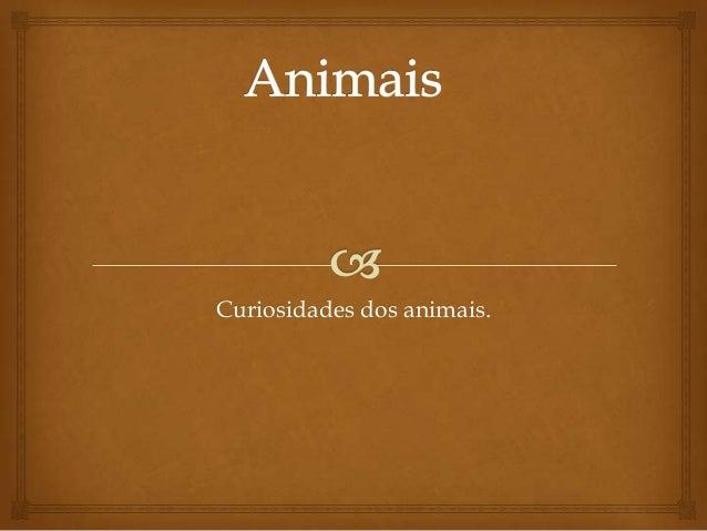 Curiosidades dos animais.