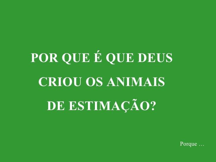 POR QUE É QUE DEUS CRIOU OS ANIMAIS  DE ESTIMAÇÃO? Porque …