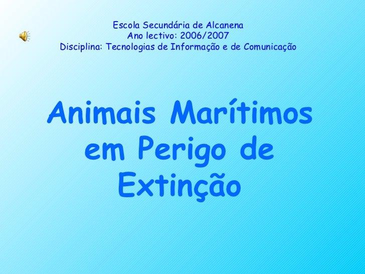 Animais Marítimos em Perigo de Extinção Escola Secundária de Alcanena Ano lectivo: 2006/2007 Disciplina: Tecnologias de In...