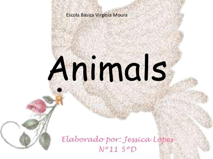 Escola Básica Virgínia Moura<br />Animals<br />Elaborado por: Jessica Lopes <br />Nº11 5ºD<br />