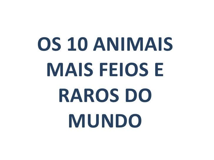 OS 10 ANIMAIS MAIS FEIOS E RAROS DO MUNDO