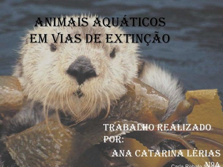 Animais aquáticos em vias de extinção<br />Trabalho realizado por:<br />Ana Catarina Lérias nº4<br />Ana Lúcia Rasteiro   ...