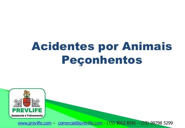www.prevlife.com – comercial@prevlife.com - (15) 3012 8181 – (15) 99798 5299 Acidentes por Animais Peçonhentos
