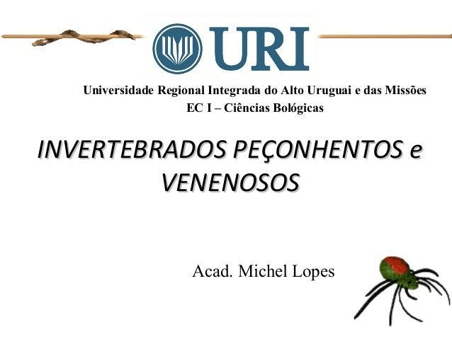 Universidade Regional Integrada do Alto Uruguai e das Missões EC I – Ciências Bológicas Acad. Michel Lopes INVERTEBRADOS P...