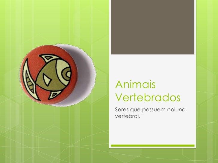 Animais Vertebrados<br />Seres que possuem coluna vertebral.<br />
