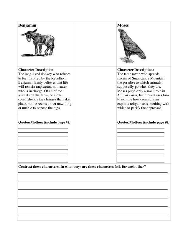 Animal Farm Character Foil Lesson Plan