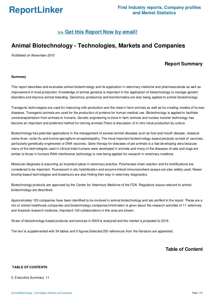 Animal Biotechnology - Technologies, Markets and Companies