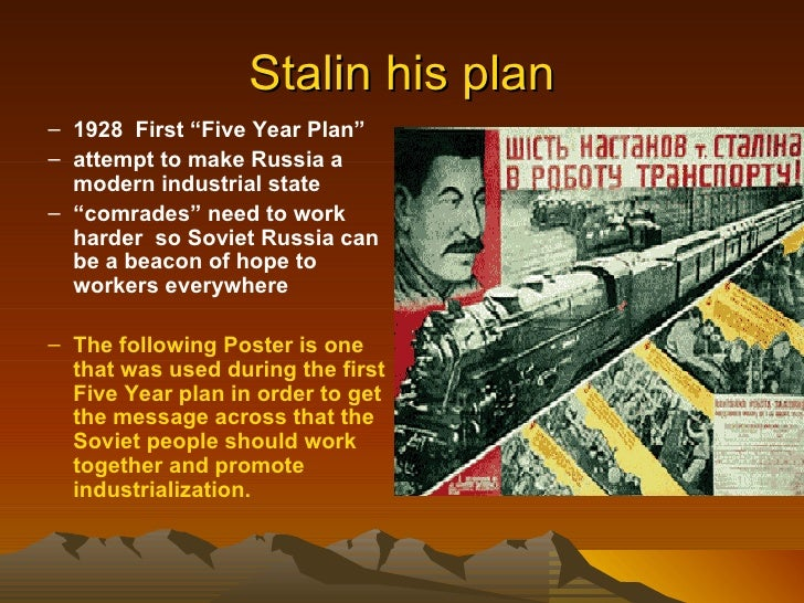 stalin five year plan essay Stalin: the first five- year the launch of the first five-year plan and a collectivisation this article was produced for south african history online on 22.