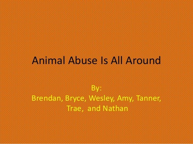 Animal Abuse Is All Around By: Brendan, Bryce, Wesley, Amy, Tanner, Trae, and Nathan