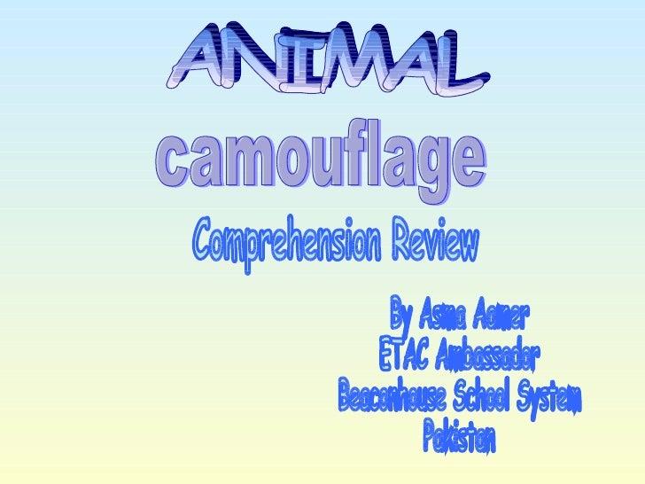 ANIMAL By Asma Aamer ETAC Ambassador Beaconhouse School System Pakistan Comprehension Review camouflage