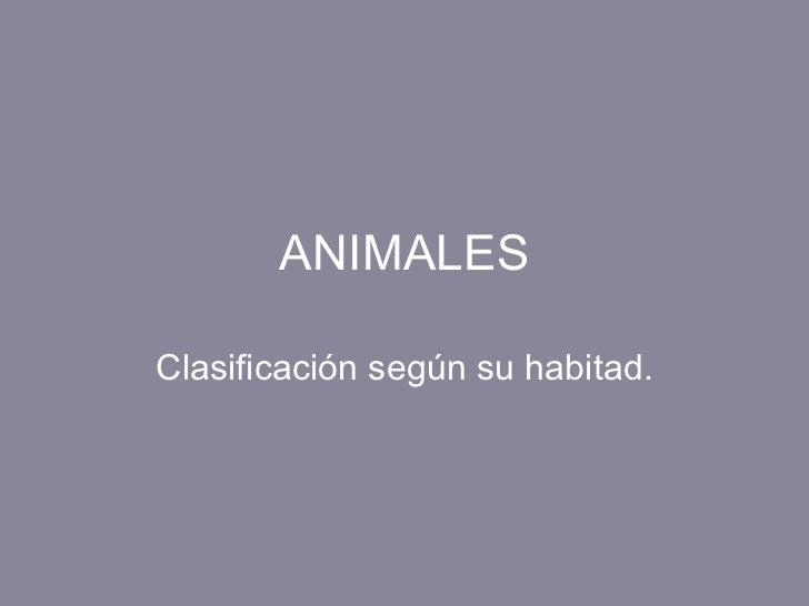 ANIMALES Clasificación según su habitad.