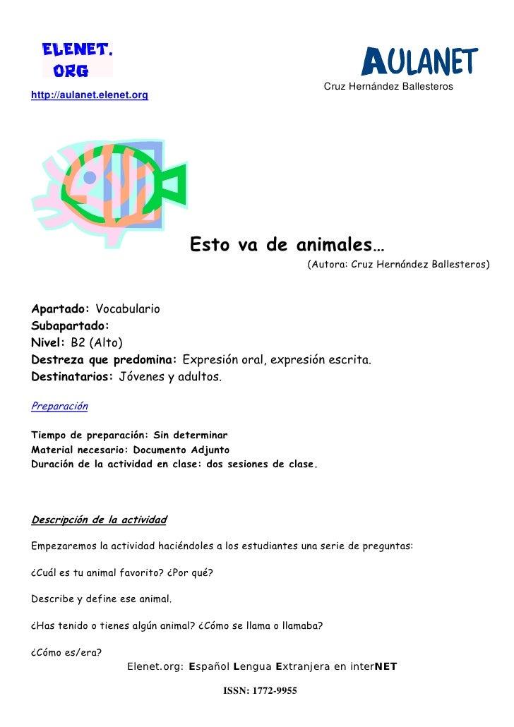 Cruz Hernández Ballesteroshttp://aulanet.elenet.org                                 Esto va de animales…                  ...