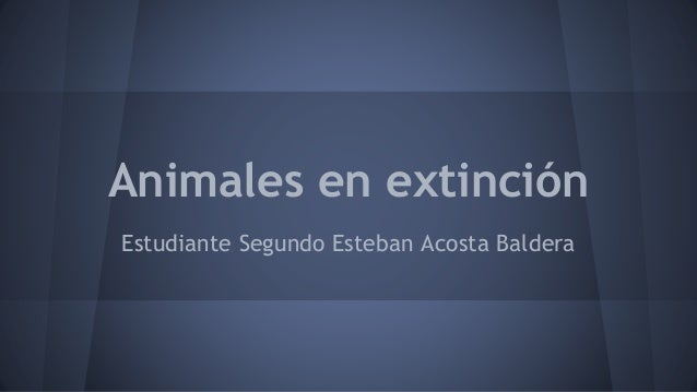 Animales en extinción Estudiante Segundo Esteban Acosta Baldera