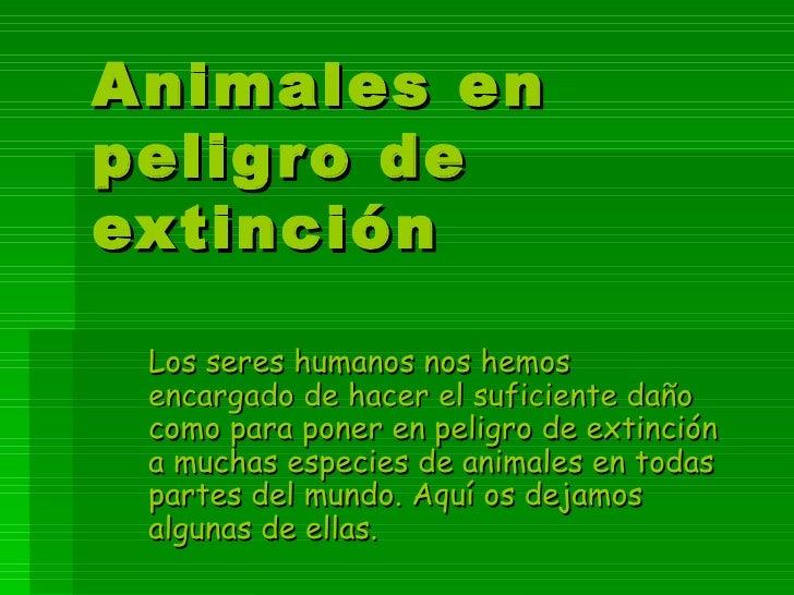 Animales en peligro de extinción Los seres humanos nos hemos encargado de hacer el suficiente daño como para poner en peli...