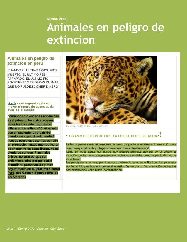 SPRING 2012                                Animales en peligro de                                extincion Animales en pel...