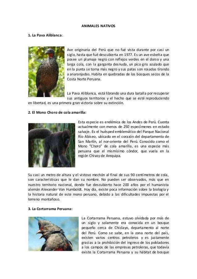 Animales nativos