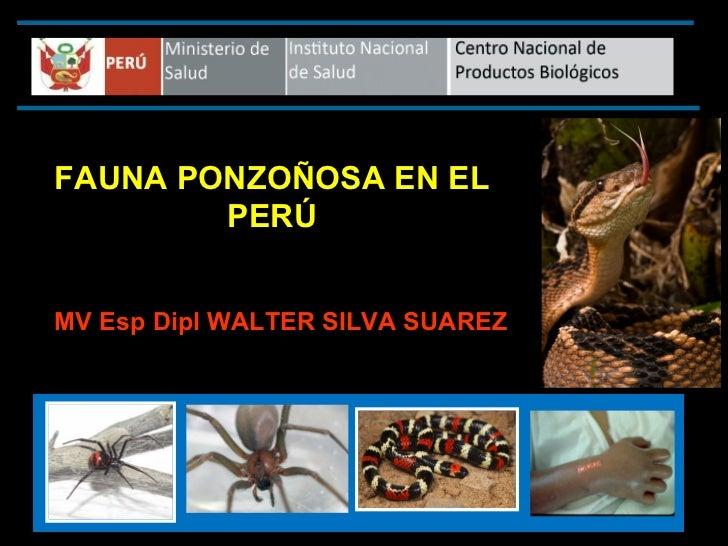 FAUNA PONZOÑOSA EN EL        PERÚMV Esp Dipl WALTER SILVA SUAREZ