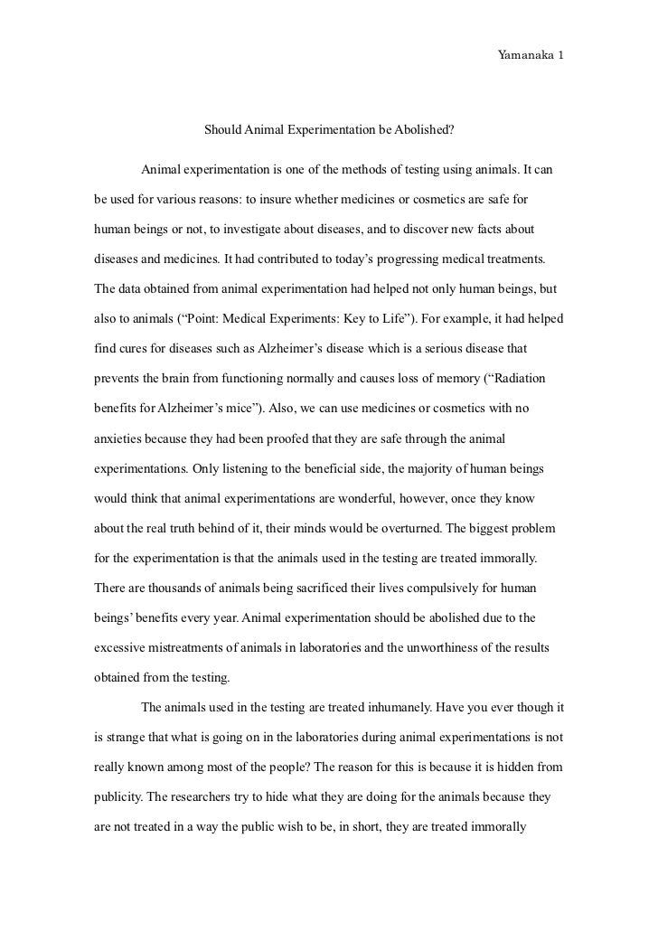 animal testing essay thesis weldon 1 animal testing introduction thesis statement: animal testing is wrong because it is inhumane, costly, and unpredictable i animal testing is.