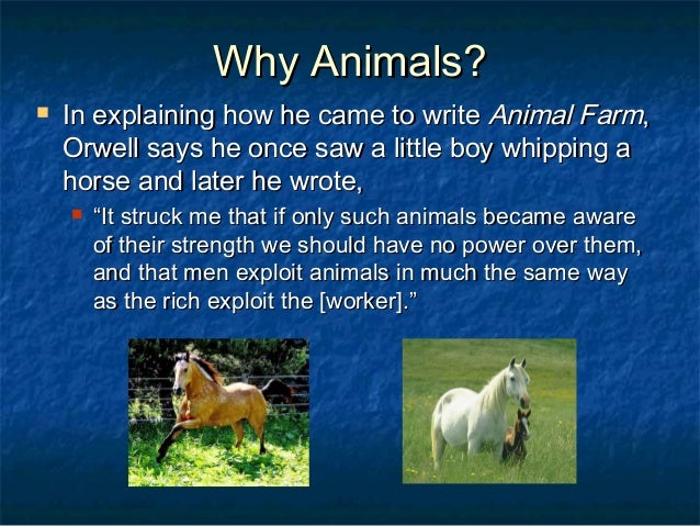 an idea of self governemnt through the animals in the animal farm by george orwell This relates to animal farm because all of the farm animals do in george orwell's book animal farm an idea shakespeare introduces this threat through.