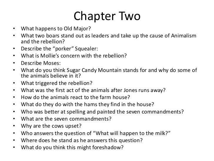 animal farm chapter notes Animal farm begins with a very drunk mr jones (owner of manor farm) doing a really crummy job of, you know, his job luckily, there's a wise pig on the farm: old major old major encourages the neglected animals to rebel and run the farm themselves with one important qualification: everyone should be equal.