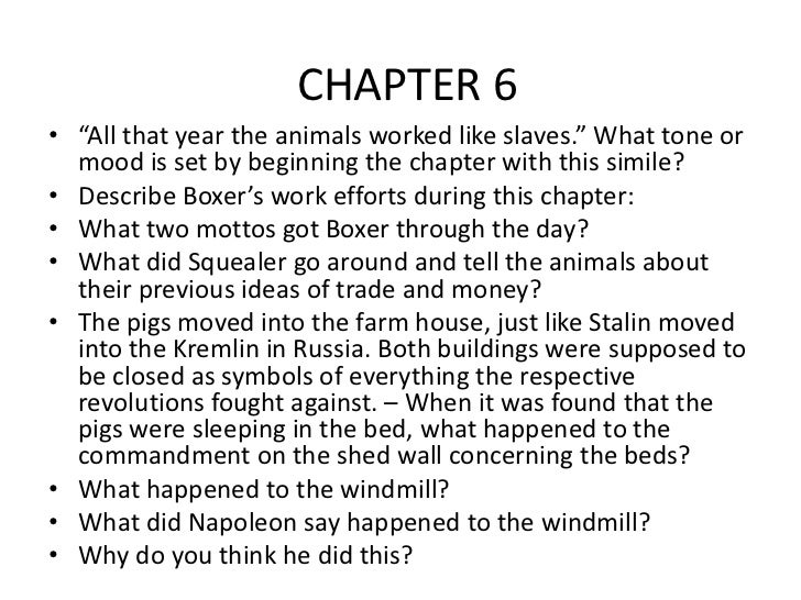 animal farm chapter questions chapter 6 10 animal farm questions 2