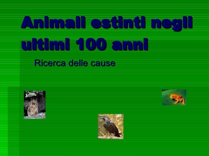 Animali estinti negli ultimi 100 anni Ricerca delle cause